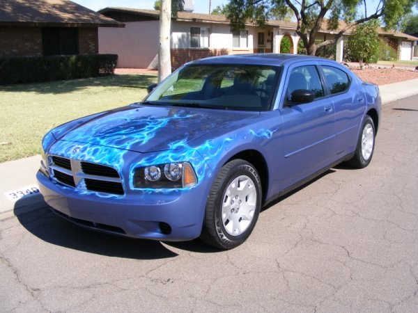 This Newer Dodge Charger Had A Funky Blue Base Color, And The Owner Wanted  To JAZZ It Up A Bit. So Natural Gas Fire With A DODGE RAM HEAD In The  Flames ...
